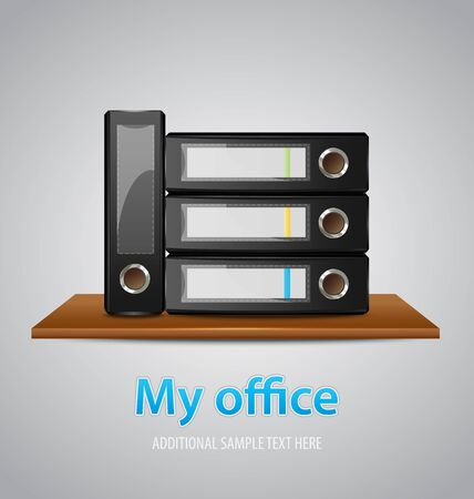 wooden shelf: My office background template with binders on a wooden shelf