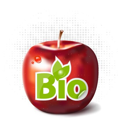 Red apple with bio label for fruit bioproduction Illustration