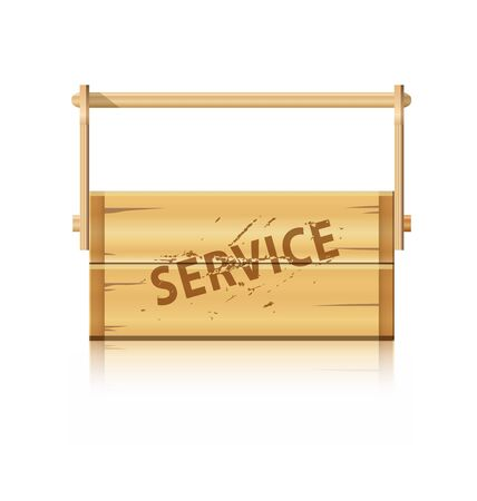 implement: Service wooden box for various hobby and master tools Illustration