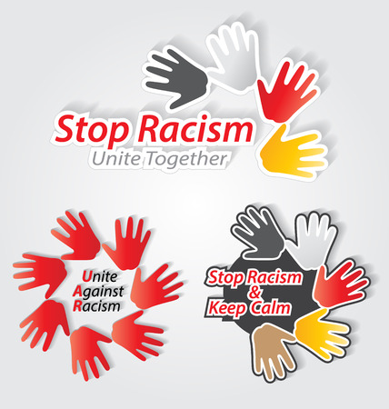 sex discrimination: Stop racism colorful label set for creative design needs