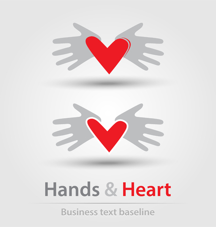busines: Hands and heart busines icons for creative design tasks Stock Photo