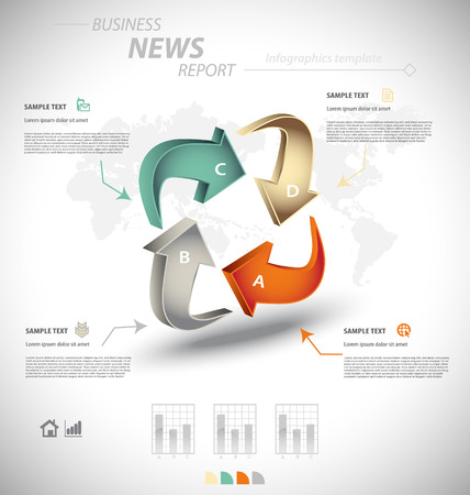 factor: Business infographic template for interactive data communication