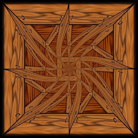 polished wood: Sfondo senza soluzione di piastrelle con rilievo mosaico in legno lucido