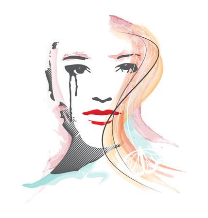 femine: Illustration of woman face in watercolor style with embellishment Illustration