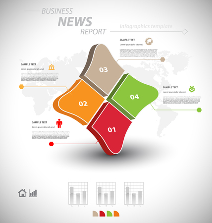 business communication: Business infographic template for interactive data communication
