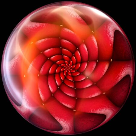 immersed: Glossy button with immersed fractal embellishment