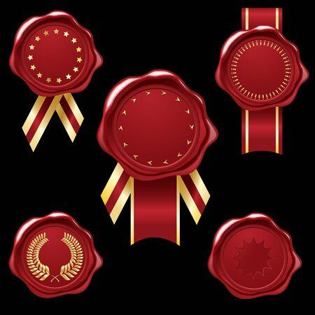collection de joint de cire avec des rubans de Golg et embellissements