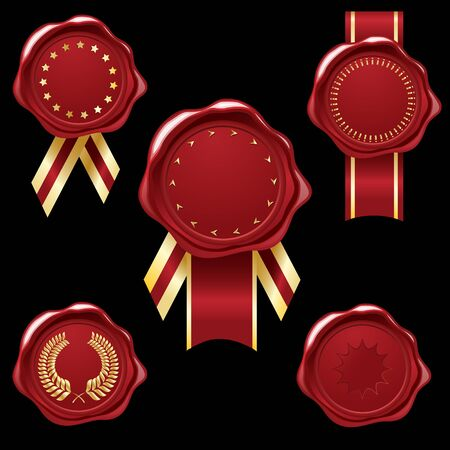 embellishments: Wax seal collection with golg ribbons and embellishments