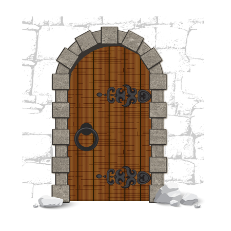 woody: Old wooden vintage doors on the wall with stones