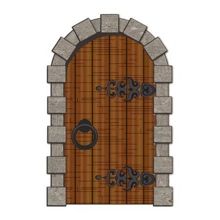 Oude houten vintage deuren geïsoleerde illustratie Vector Illustratie