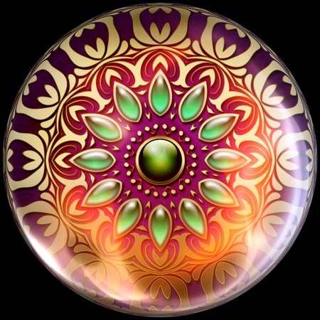 Glossy button with colorful artwork embellishment