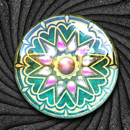 Ornament colorful plastic tile with embellishment