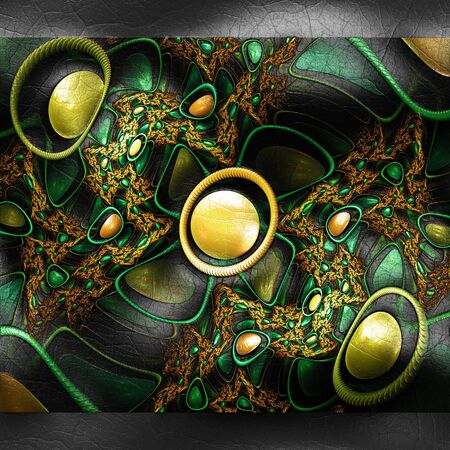 fresco: Plastic background with embossed fractal on leather