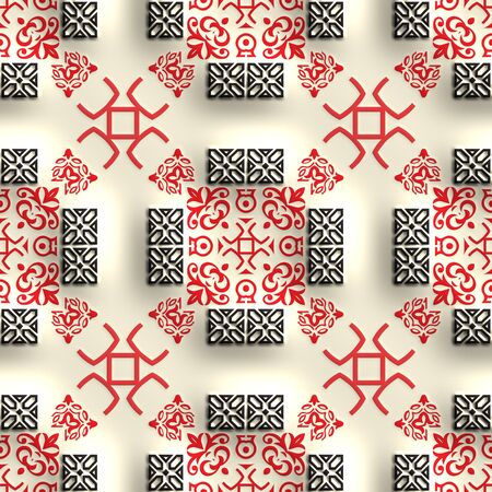 embossed: Plastic background tile with embossed abstract ornament Stock Photo
