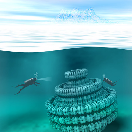spacecraft: Illustration of underwater scene with divers and submerged spacecraft