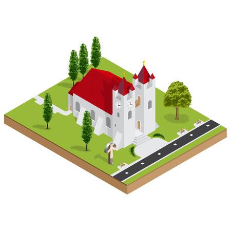 church 3d: Isometric 3D christian church building vector