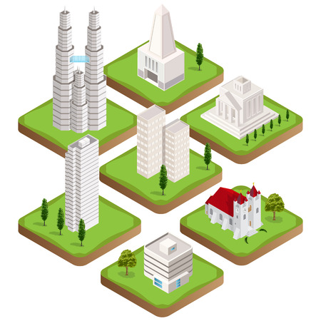 Big collection of distinct  isometric city buildings