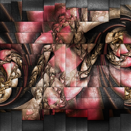 embossed: 3D rendering of scrambled fractal embossed on weave leather Stock Photo