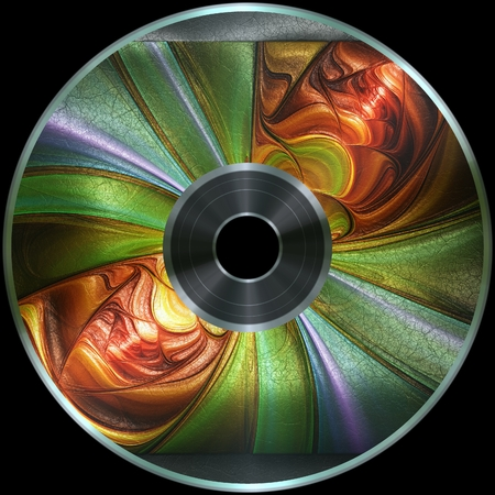 Premade digital media disc with 3D artwork render label on leather