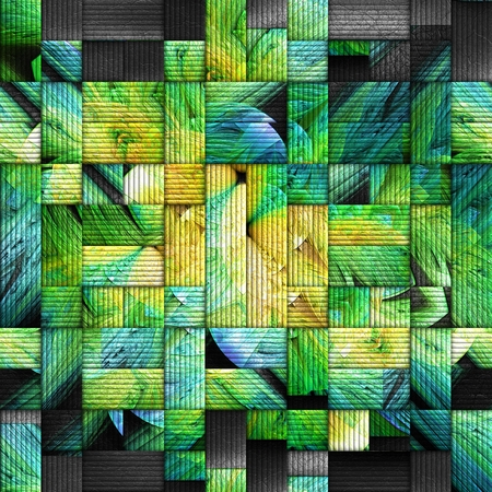 pave: 3D rendering of scrambled fractal embossed on weave leather Stock Photo