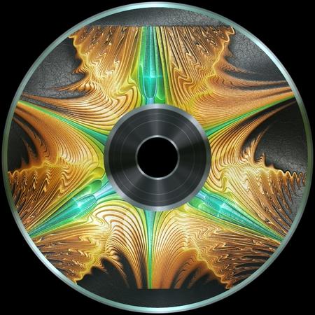 Premade digital media disc with 3D artwork render label on leather
