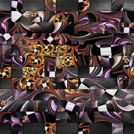 3D rendering of scrambled fractal embossed on weave leather Stock Photo