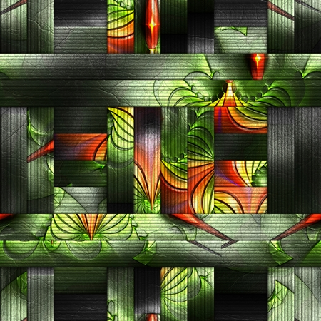 scramble: 3D rendering of scrambled fractal embossed on weave leather Stock Photo