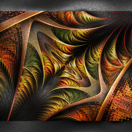 embossed: Plastic background with embossed fractal on leather