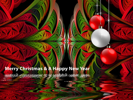 Merry christmas and a happy new year background template with fractal, christmas ball and water reflection  embellishment Stock Photo