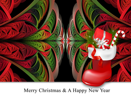 jackboot: Merry christmas and a happy new year background template with fractal and jackboot embellishment