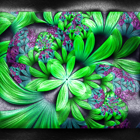 Plastic background with embossed fractal on leather