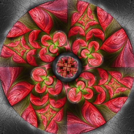 3D render of colorful plastic fractal flower disc embossed on leather