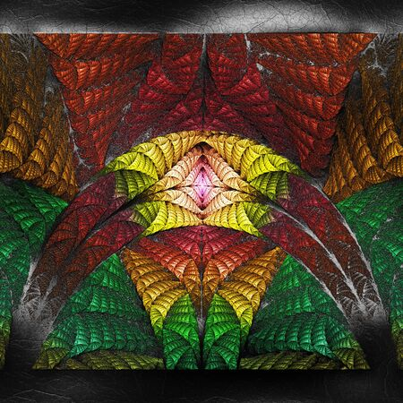 3D render of plastic background with embossed fractal on leather