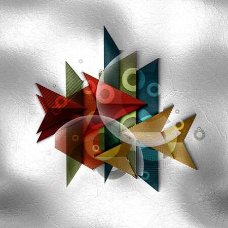 inlay: 3D render of polygeometric abstract colorful background template on leather