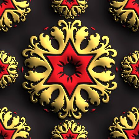fresco: 3D rendering of plastic background tile with embossed abstract ornament Stock Photo