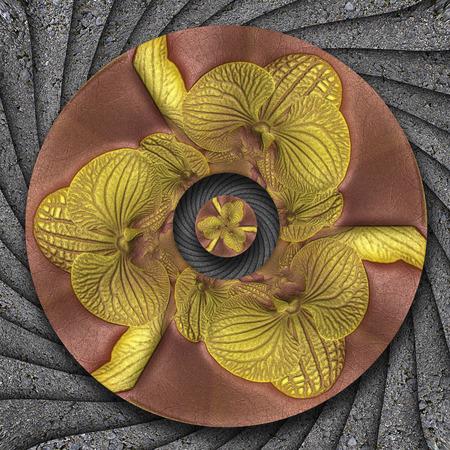 3D illustration of flower ornamental frame on textured background tile