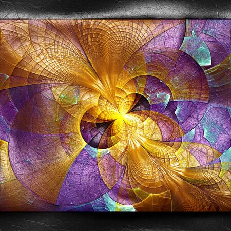 pave: 3D rendering of plastic background with embossed fractal on leather Stock Photo