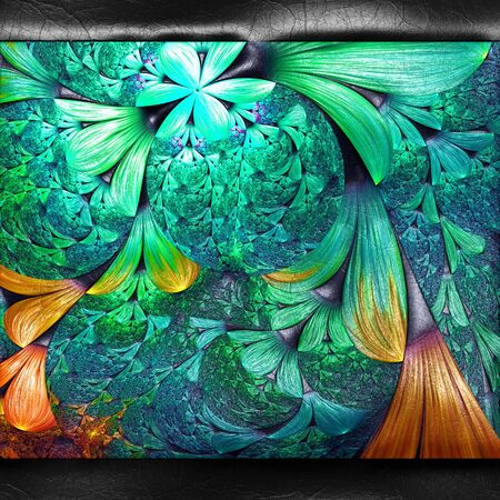 3D rendering of plastic background with embossed fractal on leather Stock Photo