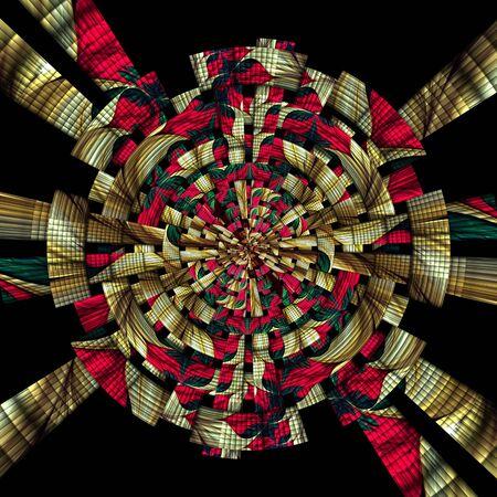 fresco: 3D rendering of scrambled weave fractal geometric background Stock Photo