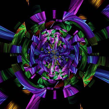 3D rendering of scrambled weave fractal geometric background Stock Photo