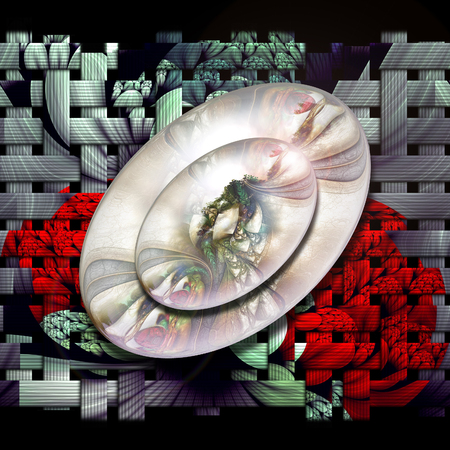 fresco: 3D rendering combo artwork with weave fractal background and fractal buttons