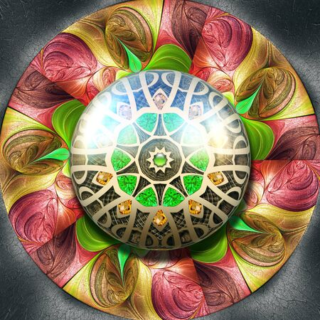 3D render of colorful plastic fractal flower disc embossed on leather with glossy button Stock Photo