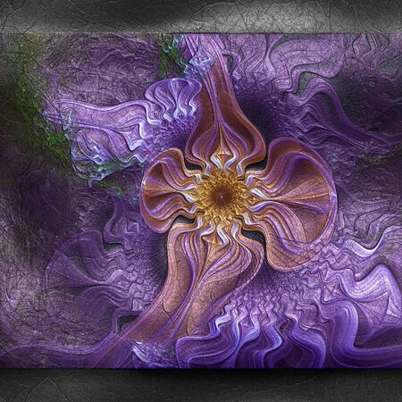 fresco: 3D rendering of plastic background with embossed fractal on leather Stock Photo