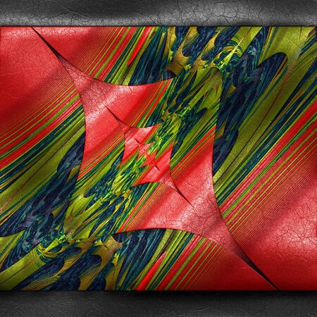 inlay: 3D rendering of plastic background with embossed fractal on leather Stock Photo