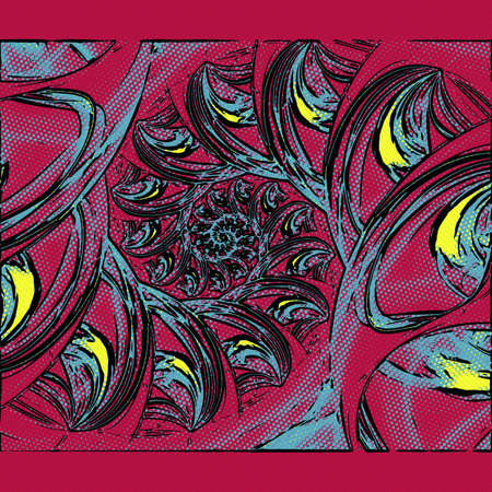 Computer generated fractal artwork in halftone style for creative art,design and entertainment