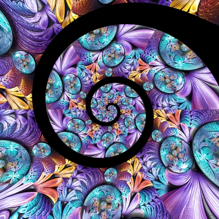 3D rendering magic spiral artwork with weave fractal and fractal buttons