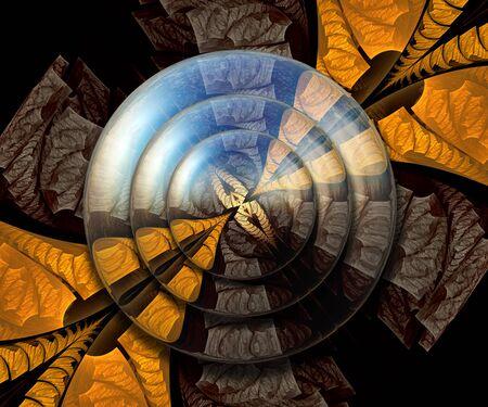 segmento: Ilustraciones combinadas de la representación 3D con los botones del fractal y del fractal