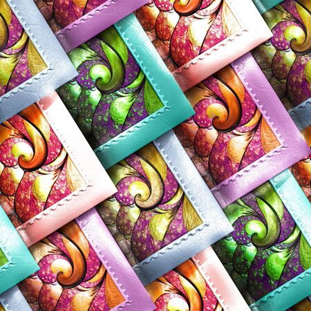 3D render of colorful plastic stamp fractal tile embossed on leather Stock Photo