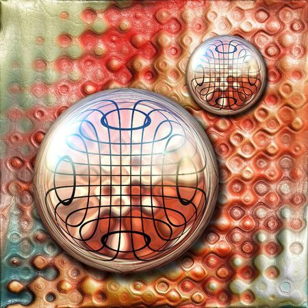 pave: 3D rendering combo artwork with colorful paint on leather and fractal button Stock Photo