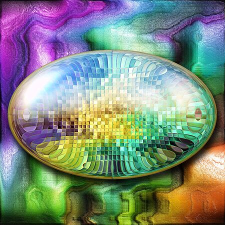 3D rendering combo artwork with colorful paint on leather and fractal button Stock Photo